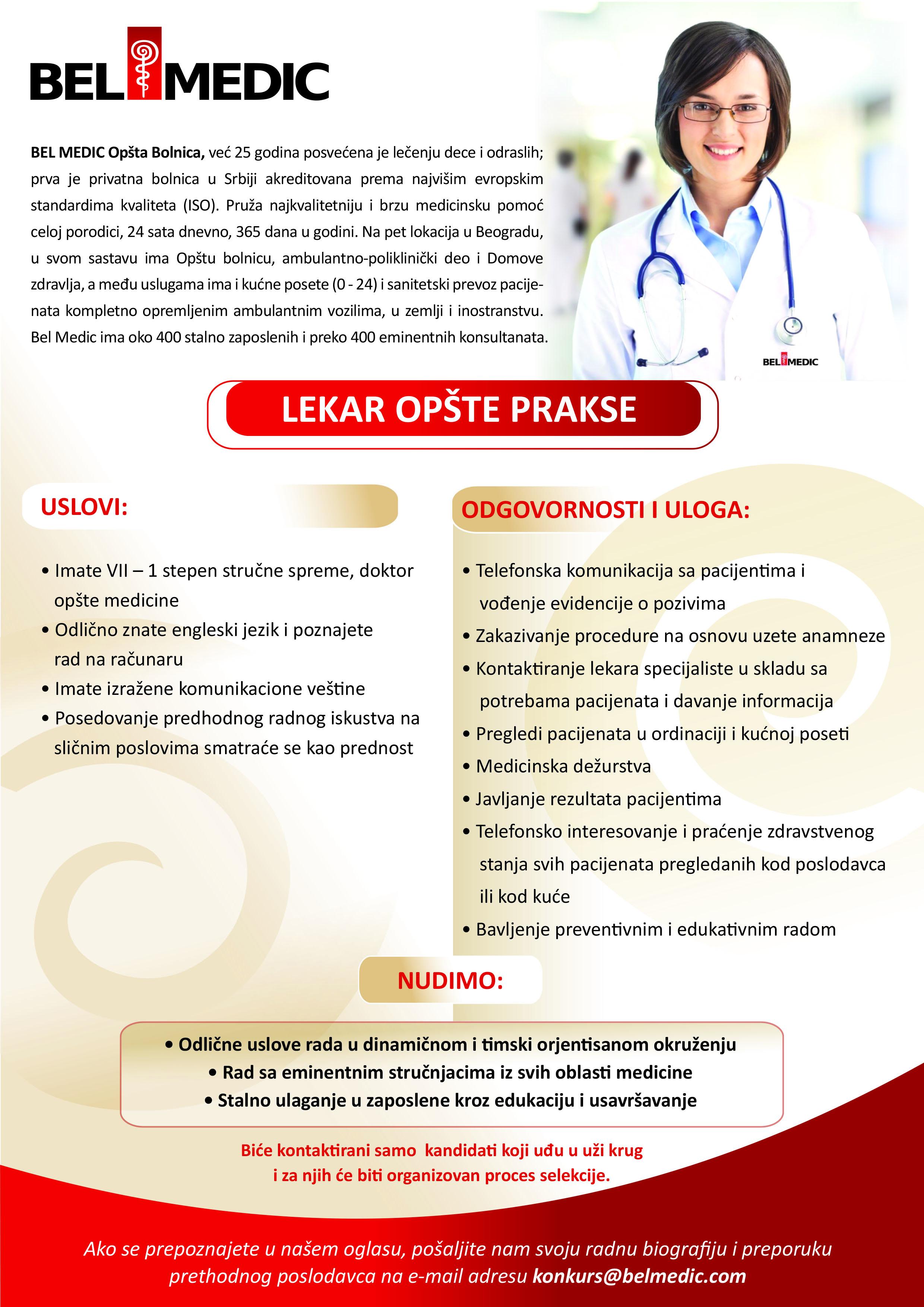 Oglas za posao - Lekar opšte prakse u bolnici Bel Medic