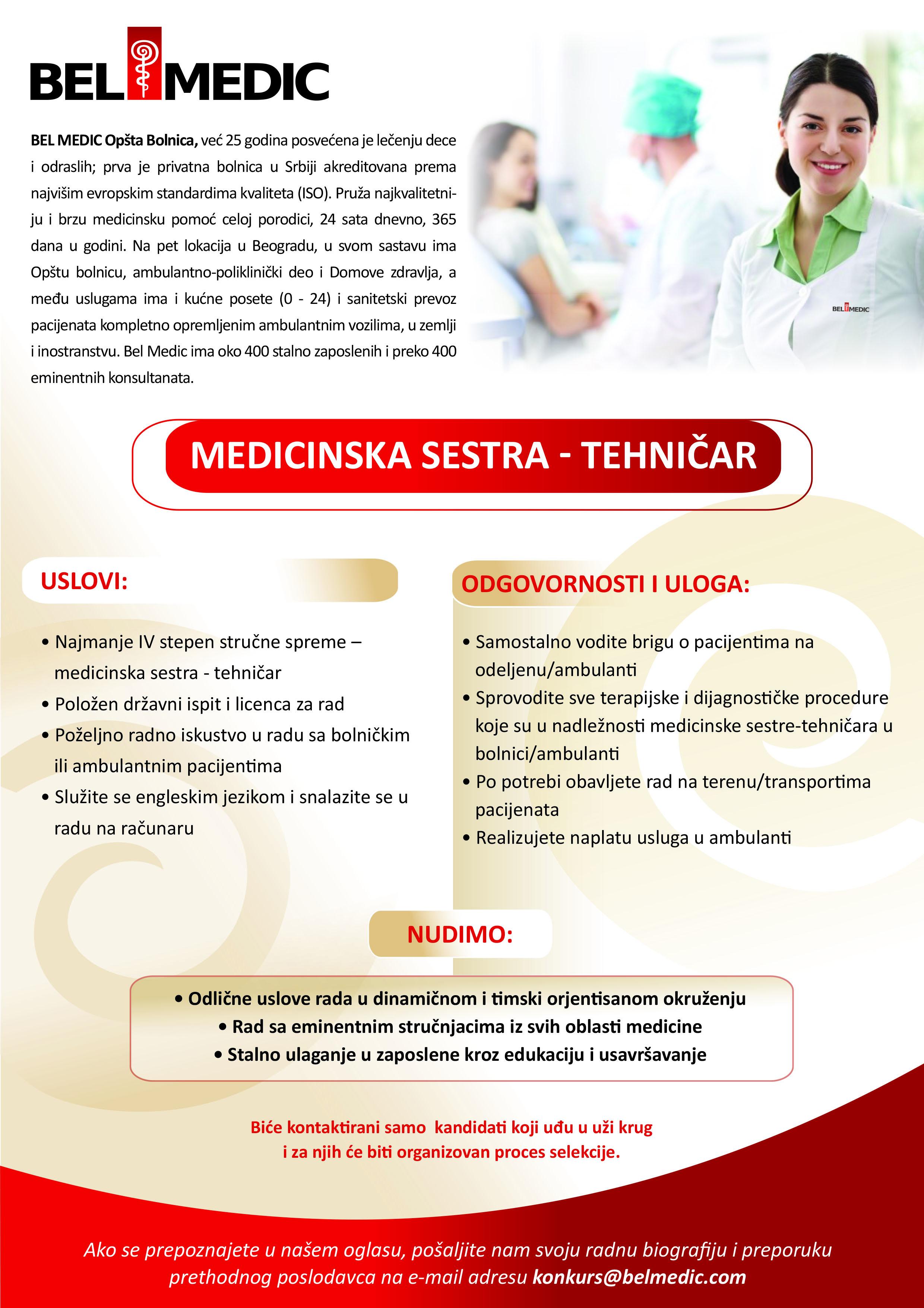 Medicinska sestra - tehničar oglas za posao u Bel Medic-u