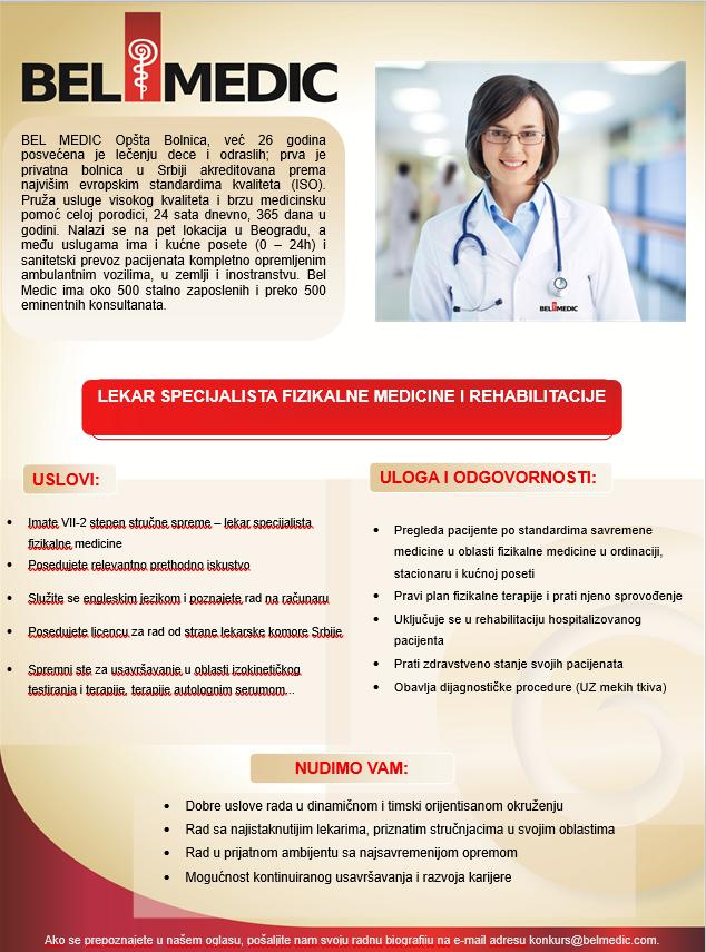 oglas za posao Lekar specijalista fizikalne medicine i rehabilitacije